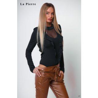 La Pierre fekete fodros tüllös női body