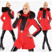Fekete piros színű szőrme kapucnis elegáns télikabát