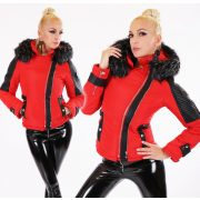 Fekete piros RÖVID szőrme kapucnis elegáns télikabát