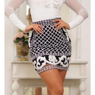 Alkalmi - Fekete fehér flitteres díszes alkalmi női szoknya S