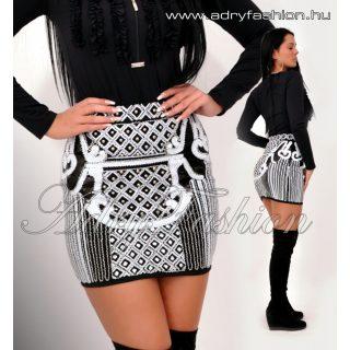 Alkalmi - Fekete fehér flitteres alkalmi női szoknya S