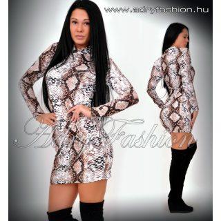 Közép barna kígyó mintás garbós női ruha