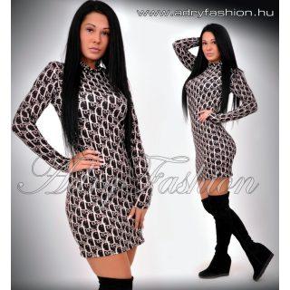 Fekete alapon bézs feliratos garbós női ruha