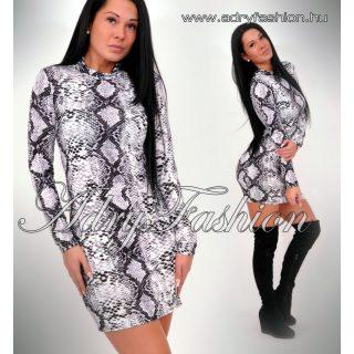 Fehér  fekete kígyó mintás garbós női ruha