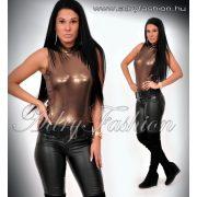 Alkalmi arany bőrhatású garbós trikó