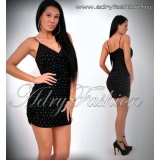 Fekete csillám pöttyös alkalmi női ruha