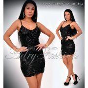 Elegáns fekete spagetti pántos flitteres ALKALMI  női ruha