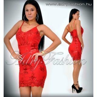Elegáns piros spagetti pántos flitteres női ruha