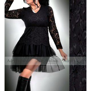 Fekete csipke - tüll  ALKALMI női ruha szoknyája loknis