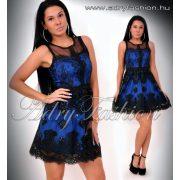 Alkalmi A vonalú kék fekete csipkés női ruha