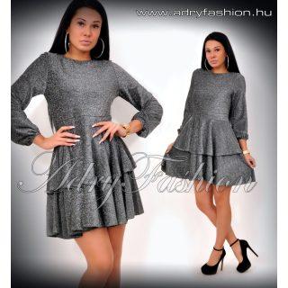 Ezüst csillámos fodros aljú elegáns női ruha