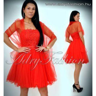 Piros alkalmi tüll szoknyás női ruha mellén csipke betéttel