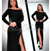 Alkalmi Fekete csillámos vállra húzható Maxi ruha