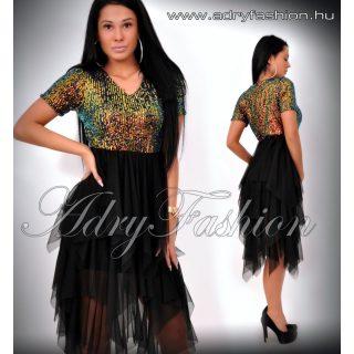 Alkalmi Fekete Flitteres aszimmetrikus tüll szoknyás ruha