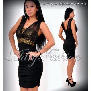 Alkalmi Fekete arany Flitteres party ruha oldalt húzott