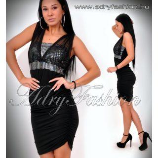 Alkalmi Fekete ezüst Flitteres party ruha oldalt húzott