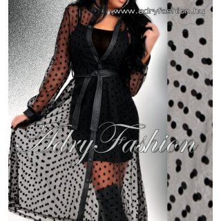 Fekete pöttyös alkalmi ing ruha  pamut trikó és pöttyös muszlin kardigán bőr megkötővel