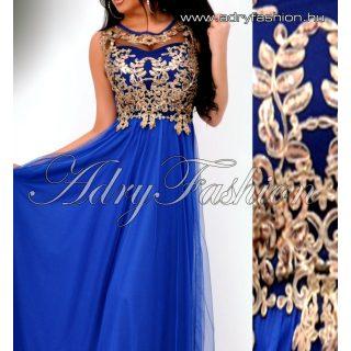 Királykék MAXI muszlin elegáns női ruha arany csipke díszes