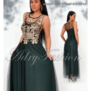 Méregzöld MAXI muszlin elegáns női ruha arany csipke díszes