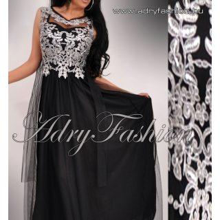 Fekete ezüst csipke díszes MAXI muszlin elegáns női ruha