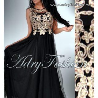 Fekete MAXI ruha  arany csipke díszes