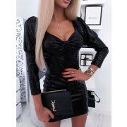 Fekete Alkalmi ruha - fekete flitteres díszes buggyos ujjú mini party ruha