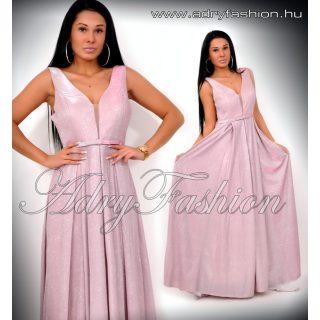 Alkalmi rózsaszín MAXI csillámos estélyi ruha M/L - kis méret