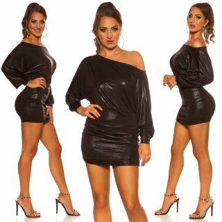 Fekete színű lenge alkalmi ruha passzos szoknyarésszel