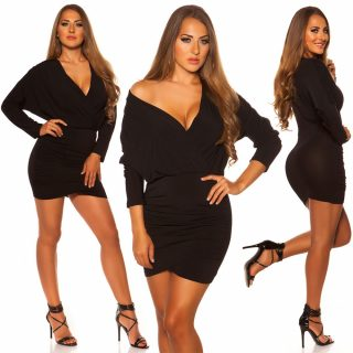 Fekete átlapolt elegáns női ruha