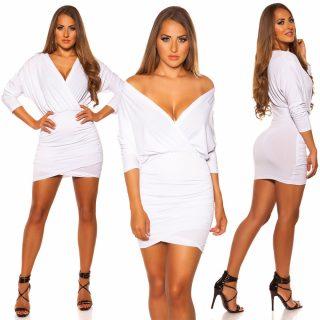 Fehér átlapolt elegáns női ruha