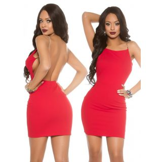 Piros hátán nyitott elegáns alkalmi női ruha