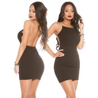 Fekete hátán nyitott elegáns alkalmi női ruha