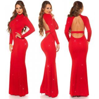 Elegáns alkalmi ruha - Piros  maxi hátán nyitott női ruha