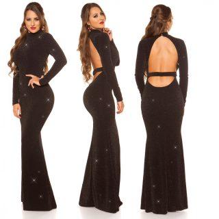 Elegáns alkalmi ruha - fekete ezüst  maxi hátán nyitott női ruha