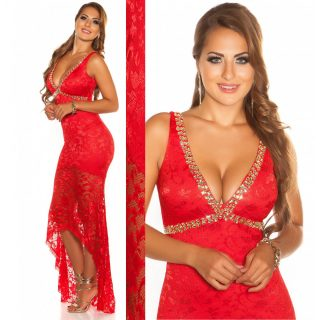 Elegáns alkalmi CSIPKE ruha -PIROS ARANY  maxi  női ruha S