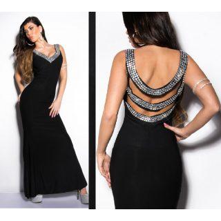 Elegáns fekete alkalmi női ruha  hátán strassz kirakással