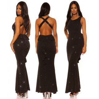 Fekete fenekénél fodros alkalmi női ruha