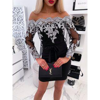 Fekete ezüst flitteres díszes alkalmi női ruha S/M