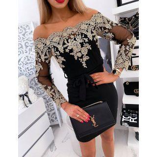 Fekete arany flitteres alkalmi női ruha S/M
