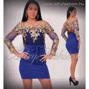 Királykék arany flitteres alkalmi női ruha S/M