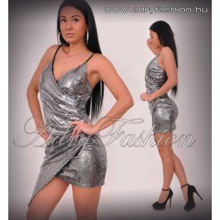 Ezüst  színű spagetti pántos alkalmi női ruha