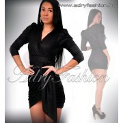 Fekete átlapolt vizes hatású alkalmi ruha