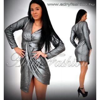 Ezüst mellén csomós vizes hatású alkalmi ruha