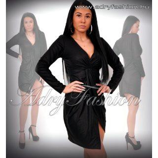 Fekete mellén csomós vizes hatású alkalmi ruha