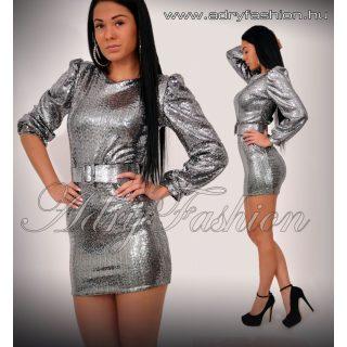 Ezüst buggyos ujjú női ruha ÖVVEL