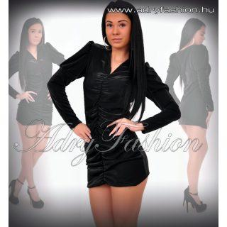 Fekete fényes alkalmi elöl húzott női ruha