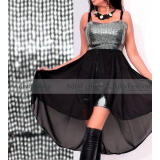 Ezüst flitteres díszes fekete alkalmi női ruha muszlin rátéttel