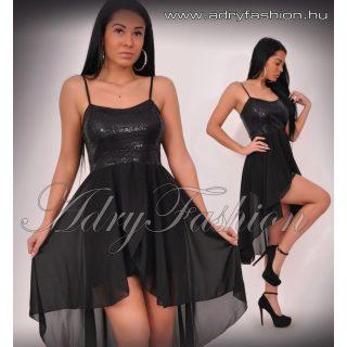 Fekete flitteres alkalmi muszlin rátéttel női ruha