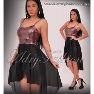 Bronz flitteres alkalmi muszlin rátéttel női ruha
