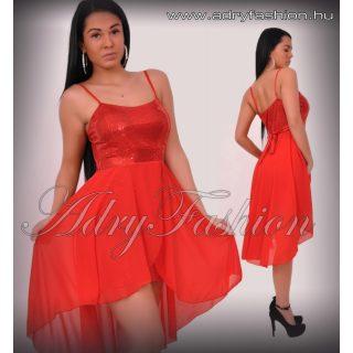 Piros flitteres alkalmi muszlin rátéttel női ruha
